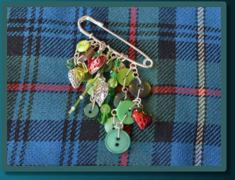Green Strawberry Charm Kilt Pin