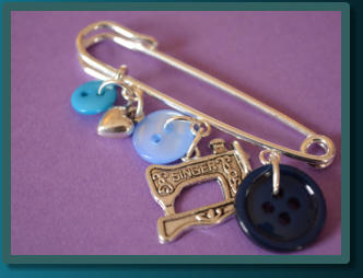 Blue Sewing Machine Wee Kilt Pin Brooch