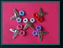 Pair Button Hair Clips - Flowers