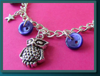 Purple Owl Child's Button Charm Bracelet