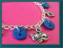 Blue Cat Child's Button Charm Bracelet
