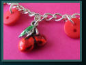 Red Cherry Child's Button Charm Bracelet