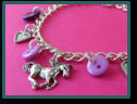Purple Horse Child's Button Charm Bracelet