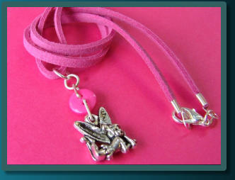 Hot Pink Fairy Child's Button Charm Necklace