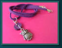 Purple Owl Child's Button Charm Necklace