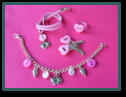 Pink Cat Set with Bracelet, Heart Hair Clips and Ring