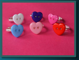 Child's Button Rings - Hearts