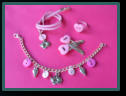 Pink Heart Set with Hair Clips, Cat Bracelet and Necklace