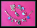 Blue Flower Set with Hair Clips, Fairy Bracelet and Necklace