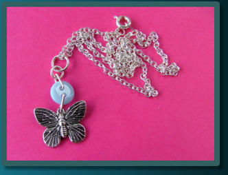 Blue Butterfly Child's Button Charm Necklace