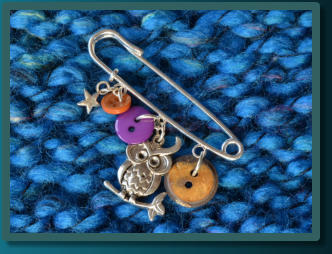 Purple & Brown Owl Girl's Kilt Pin