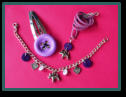 Lilac Jumbo Button Hair Clip Set with Purple Dog Child's Necklace and Bracelet