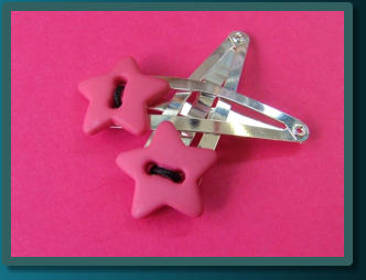 Hot Pink Star Pair Button Hair Clips