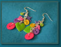 Button & Bead Earrings with Charms